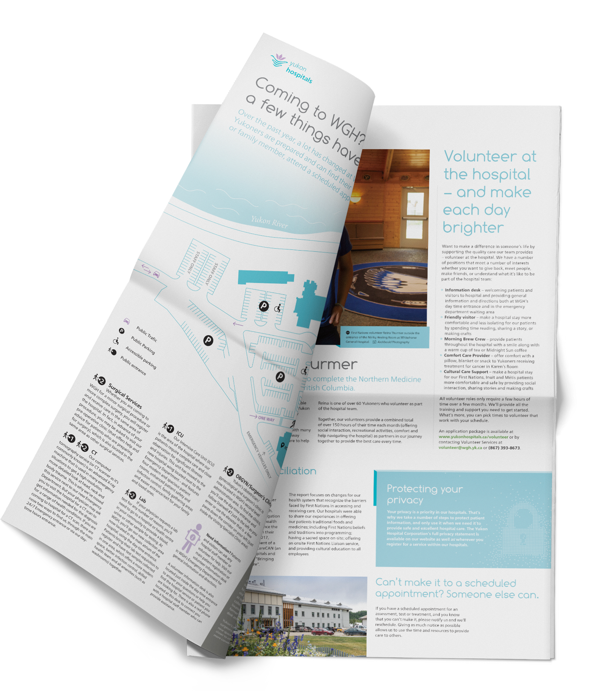 Print sample of newsletter design showing an inside spread for the Yukon Hospitals.