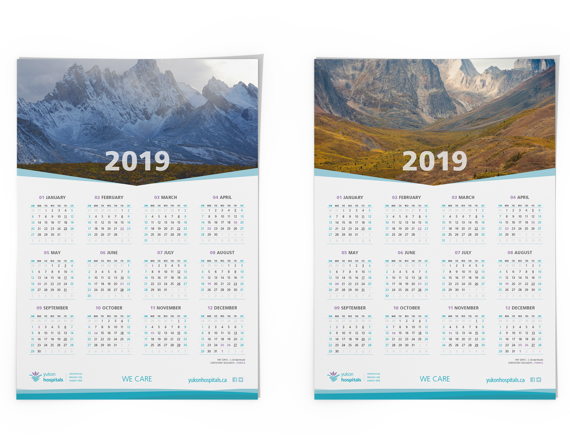 Sample image of 2019 wall calendar for the Yukon Hospital Corporation.