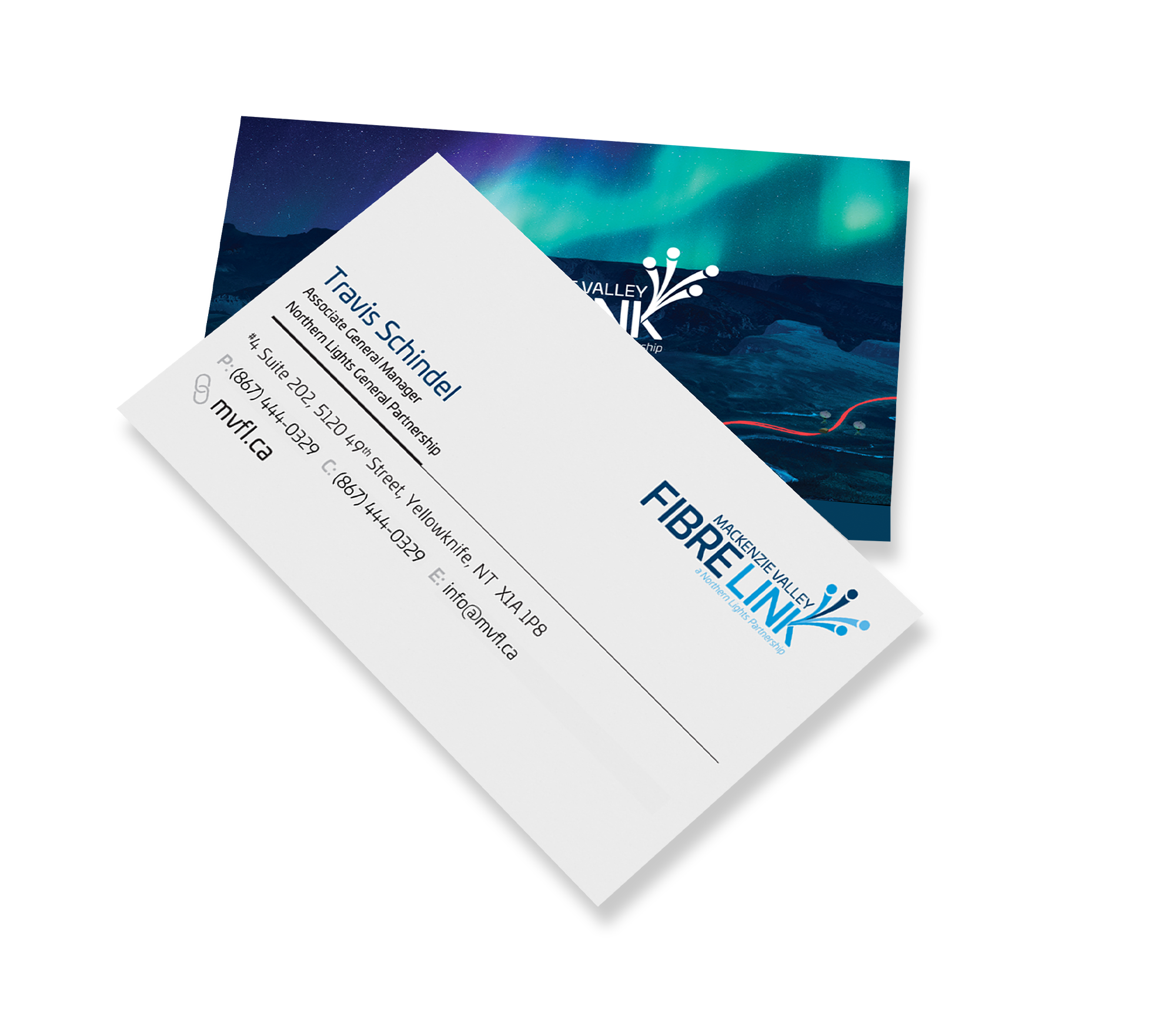 Sample image of business card design for Mackenzie Valley Fibre Link.