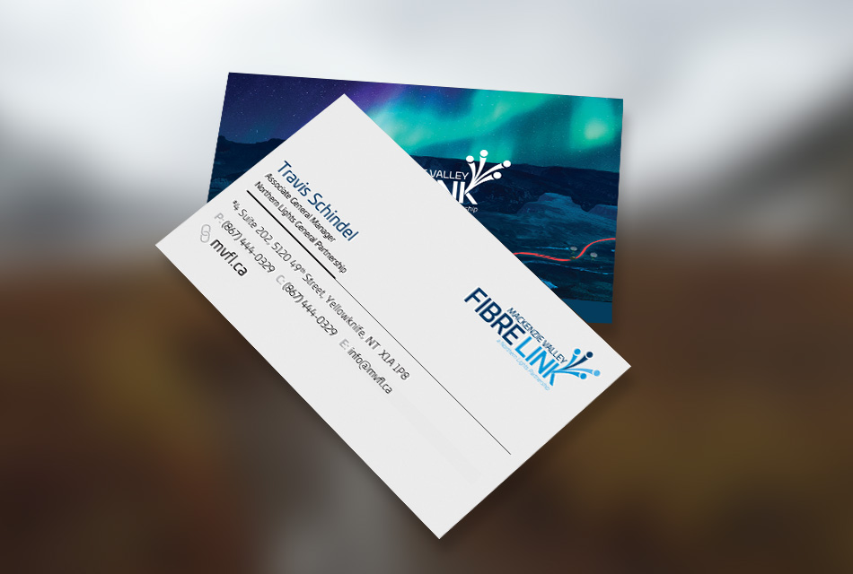 Sample image of business card design for Mackenzie Valley Fibre Link.