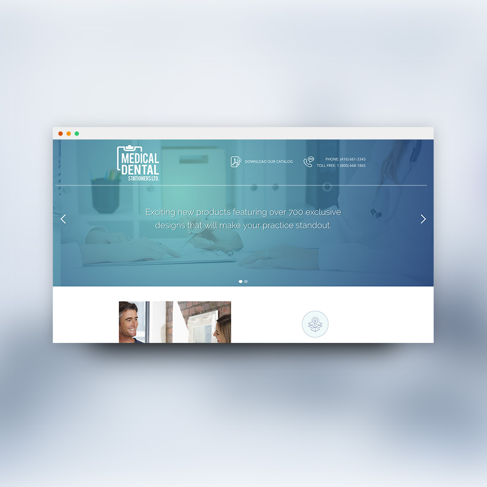 Sample image of website design showing desktop and mobile versions for Medical Dental Stationers