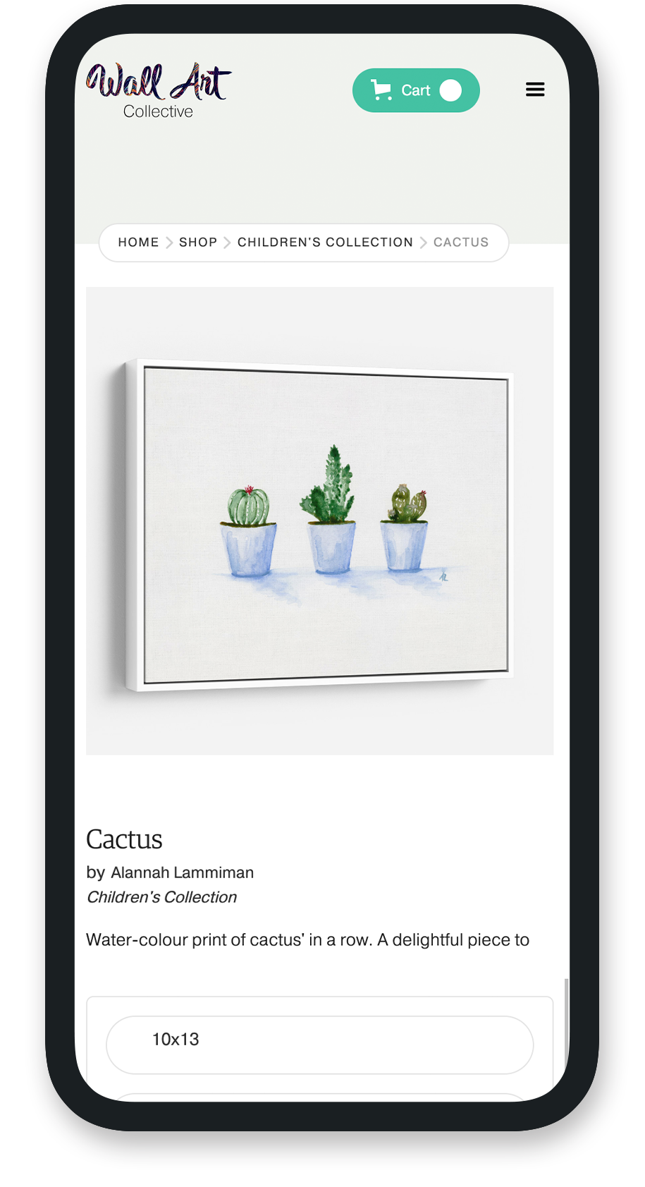 Mobile sample of product page for Wall Art Collective.
