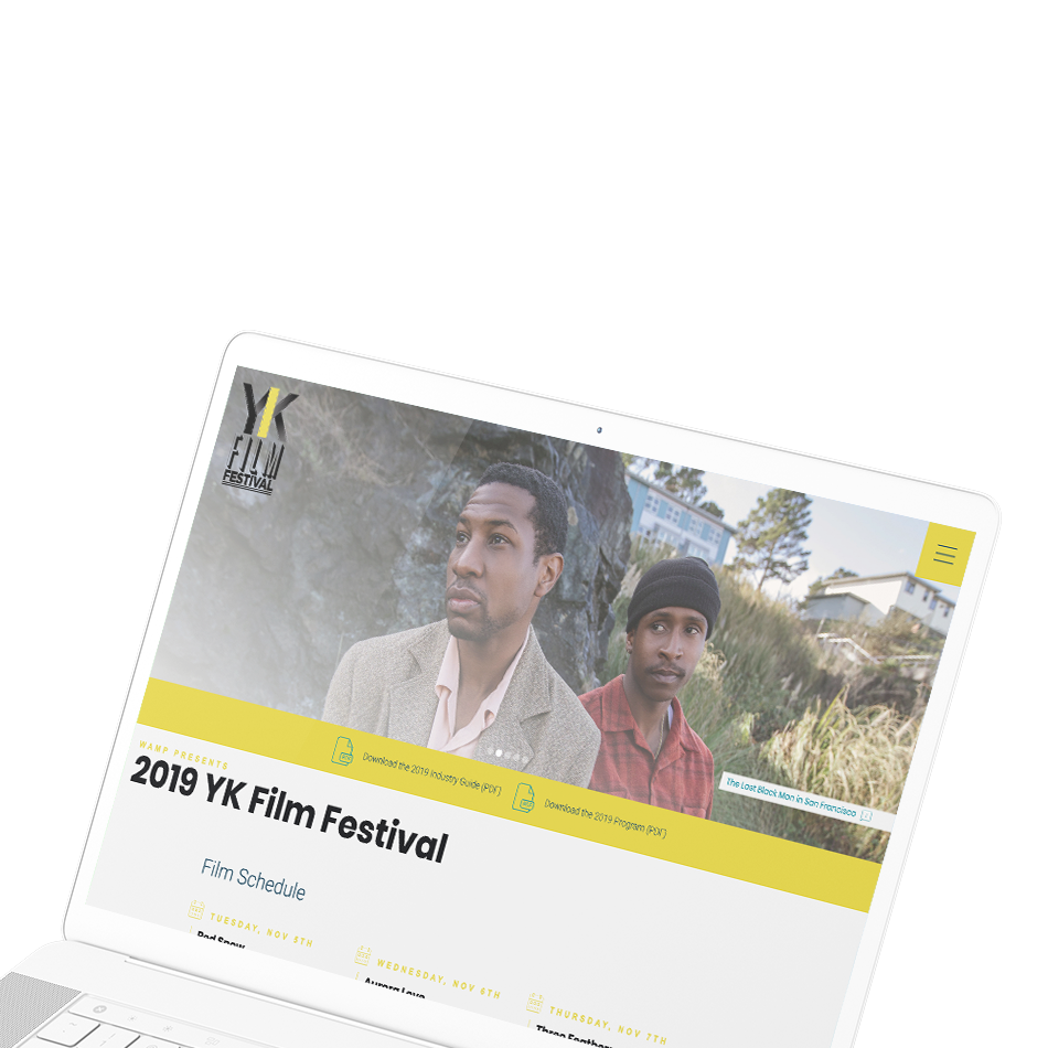 Sample image of website design showing desktop and mobile versions for YK Film Festival