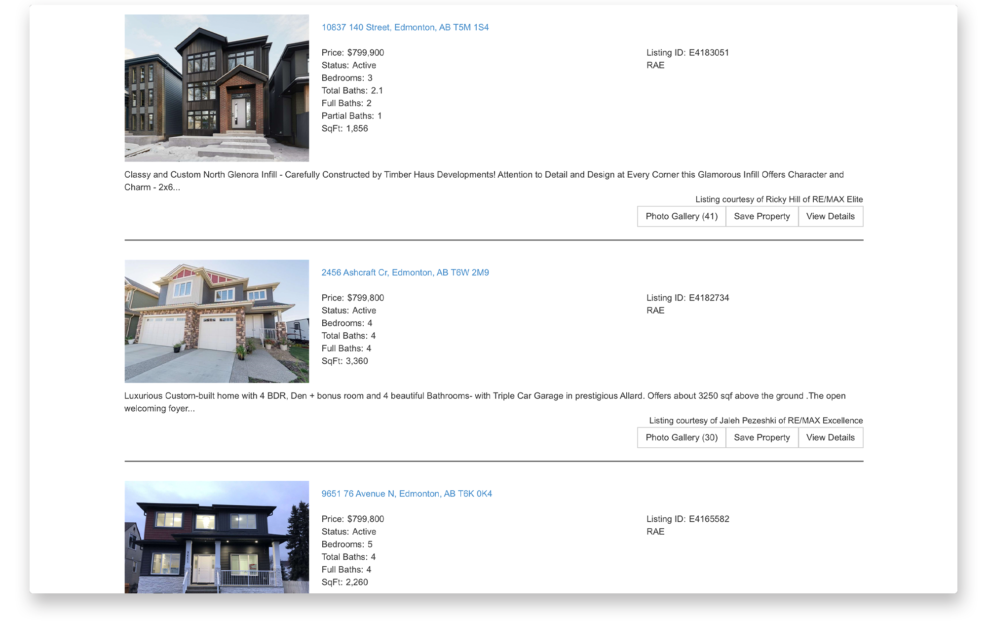 Search results page for Alanna Dawley's real estate website.