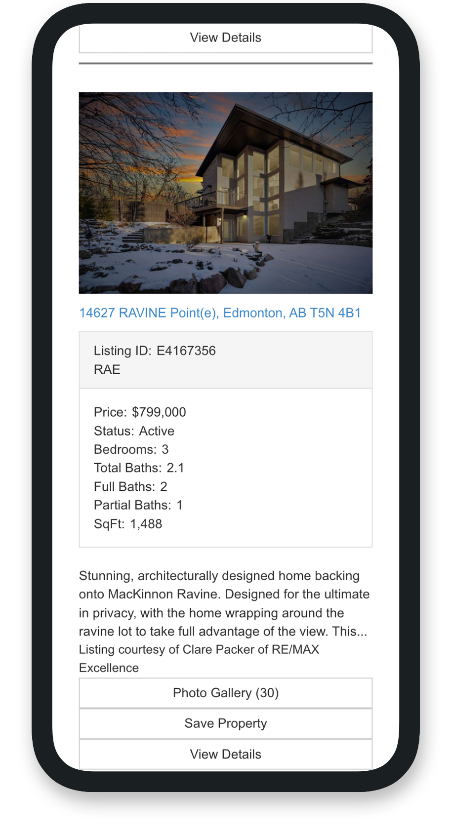 Search results page for Alanna Dawley's real estate website in mobile view.