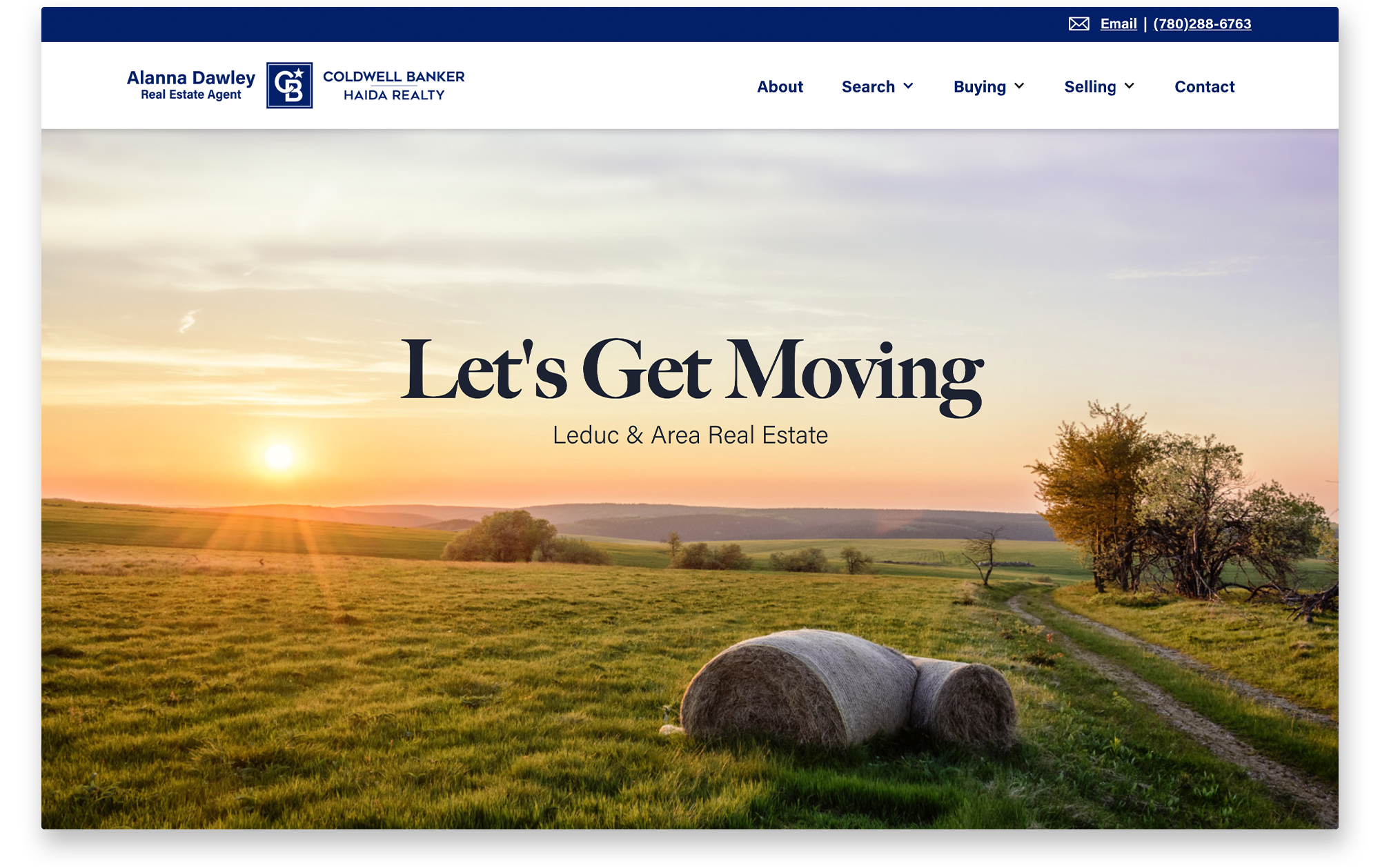 Landing page for Alanna Dawley's real estate website.