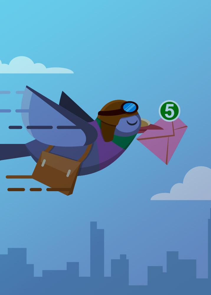 Illustration of bird flying to deliver email.