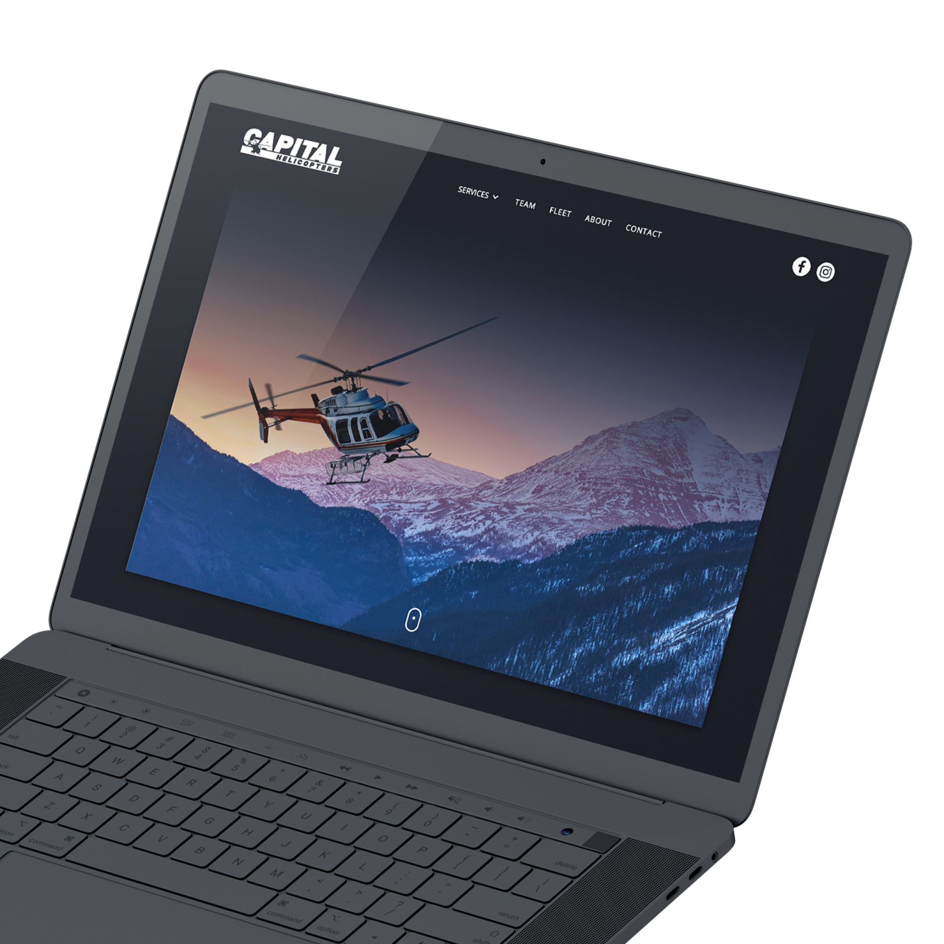 Example of website landing page for Capital Helicopters