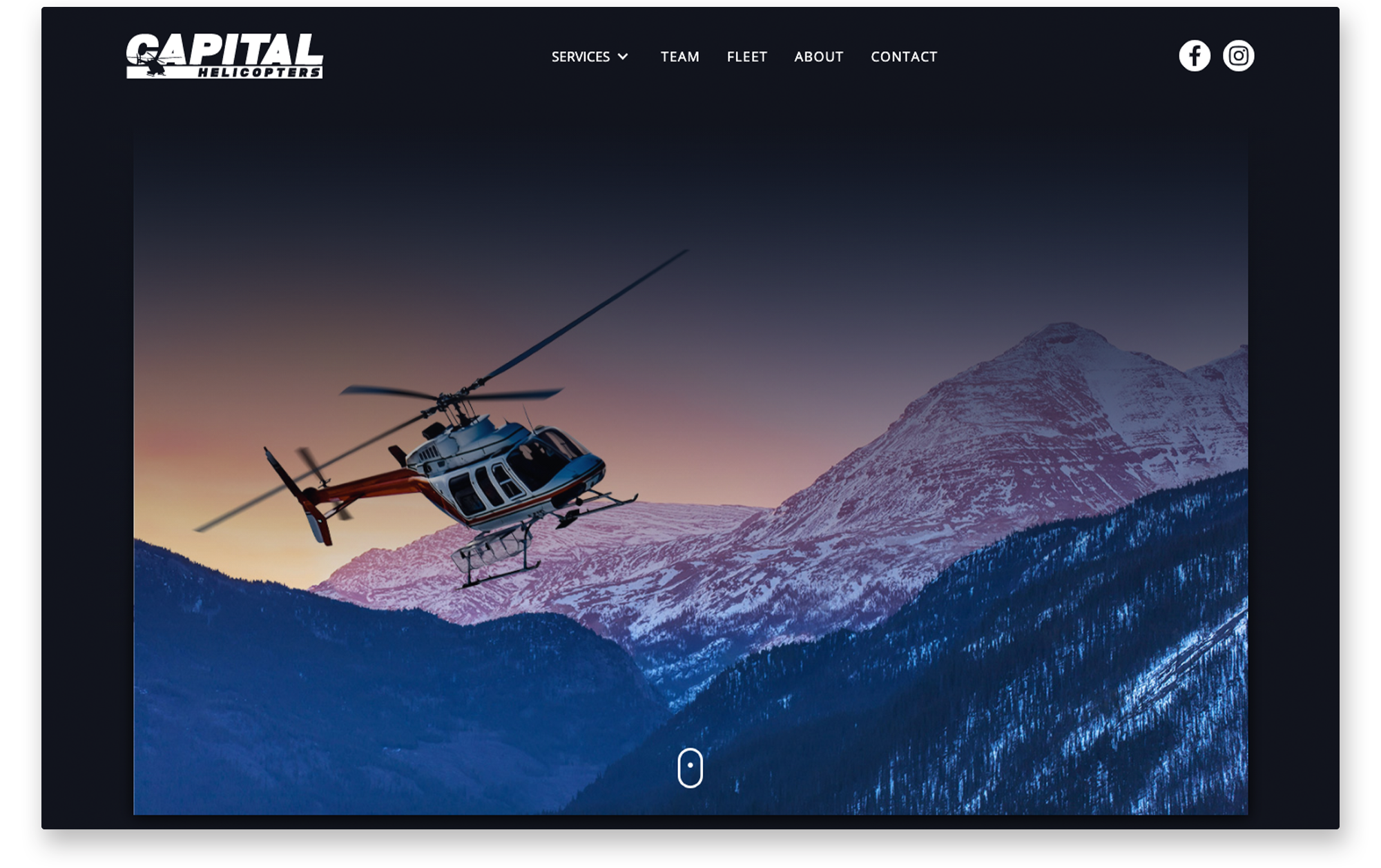 Example of desktop website landing page for Capital Helicopters.