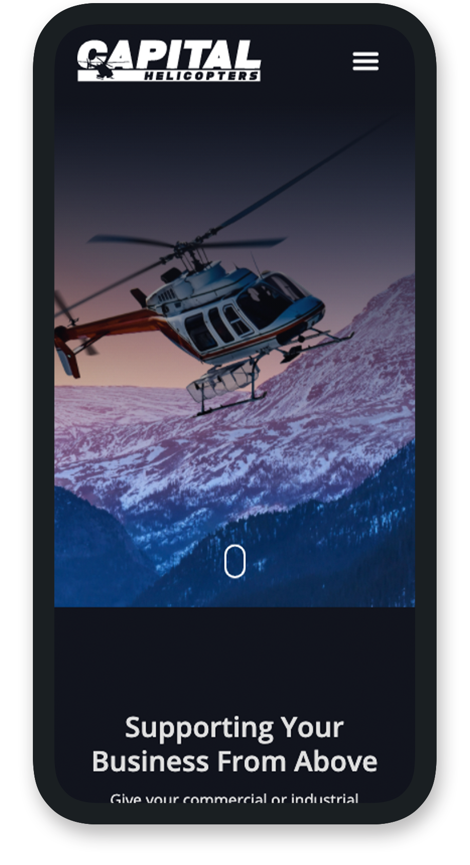 Example of mobile website landing page for Capital Helicopters