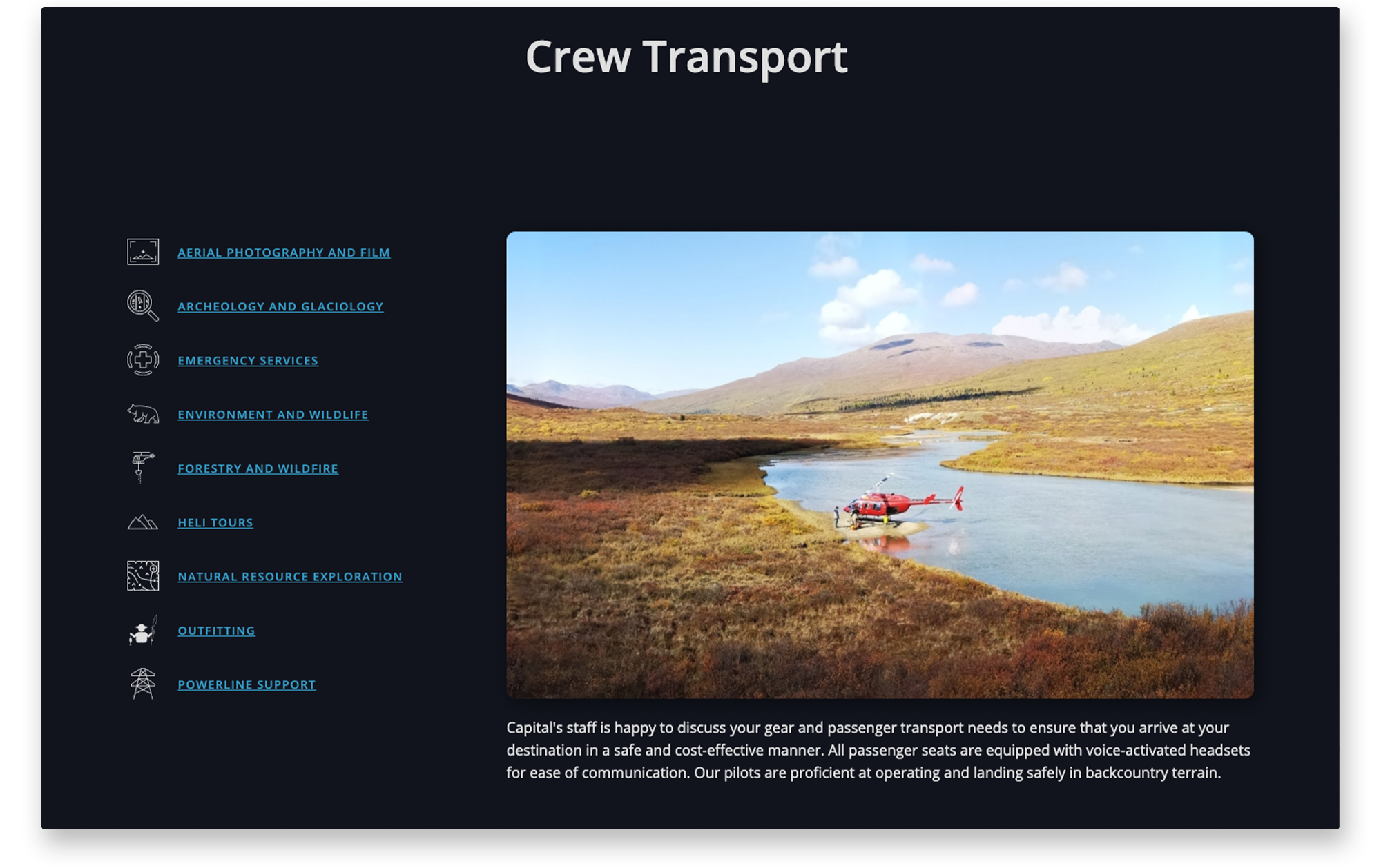 Example of desktop website services page for Capital Helicopters.