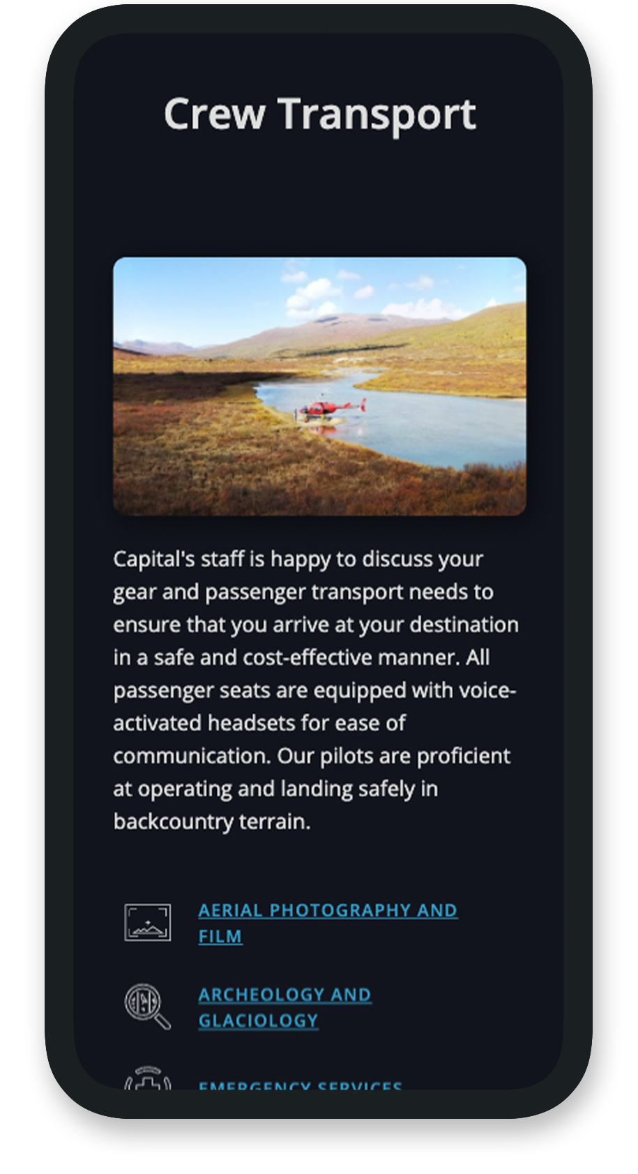Example of mobile website services page for Capital Helicopters.