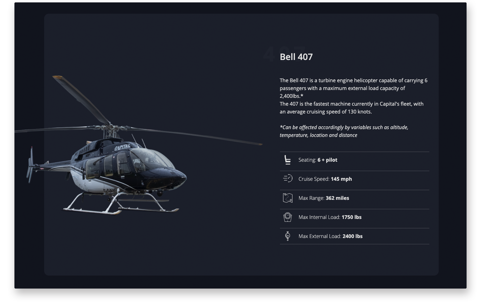 Example of desktop website fleet page for Capital Helicopters.