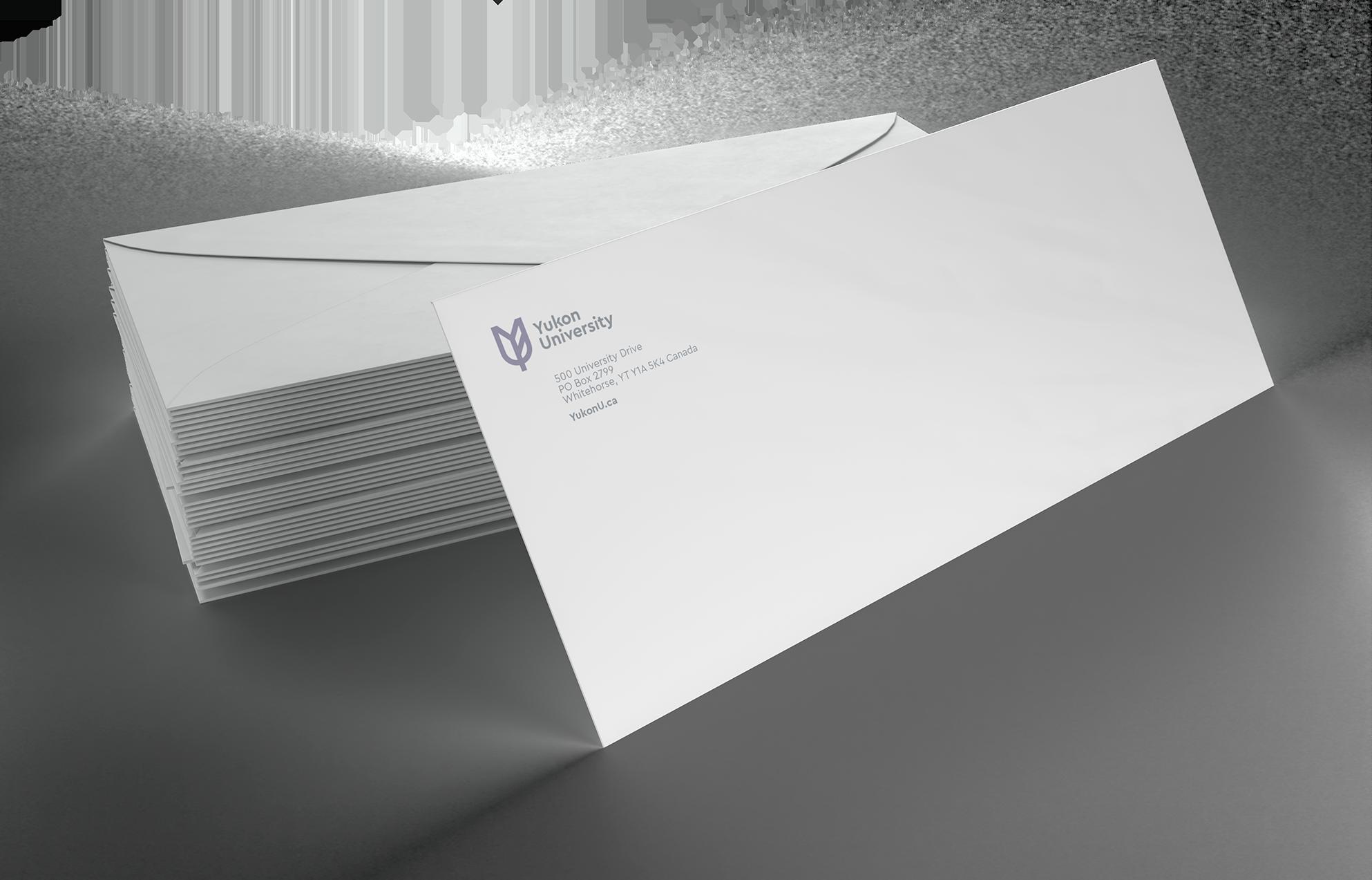 Example of Yukon University's new envelopes.