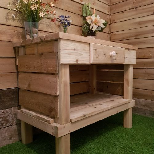 Potting Bench with Log Storage