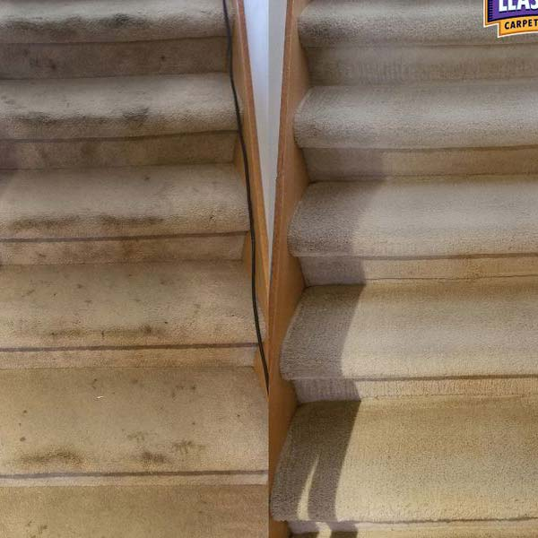 Stair carpet cleaned before and after
