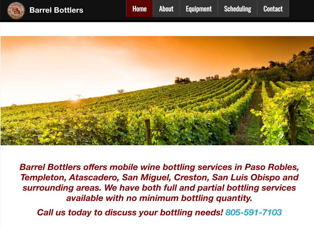 barrel bottlers website homepage image