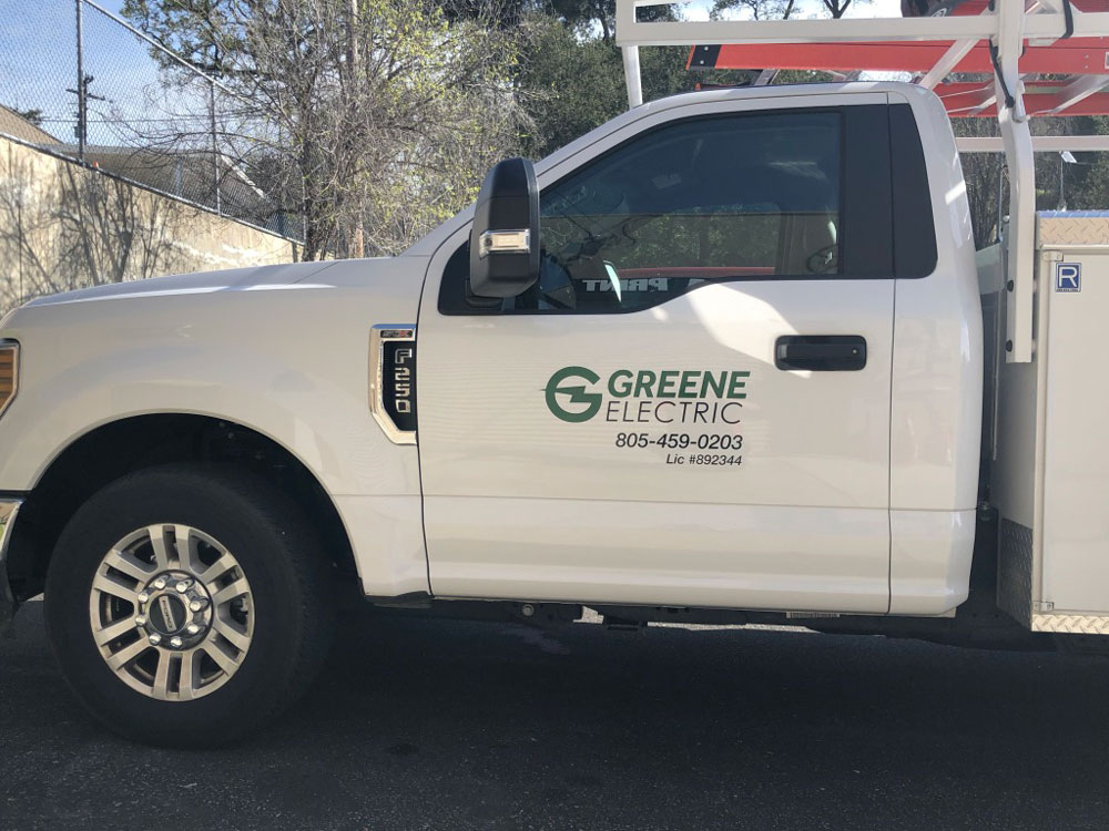 green electric truck wrap