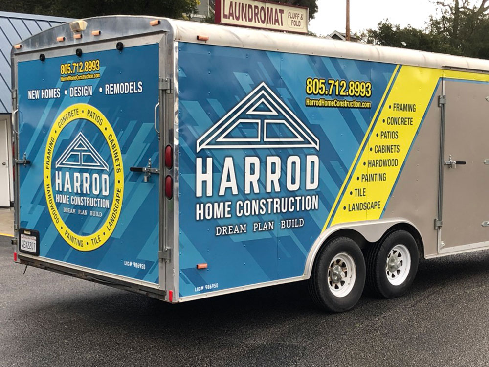 Harrod Construction trailer wrap