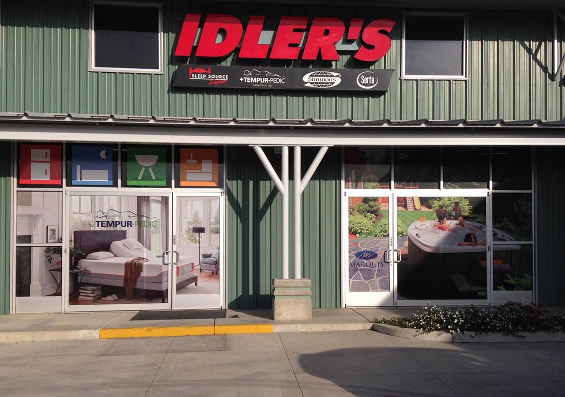Idlers window graphics spa