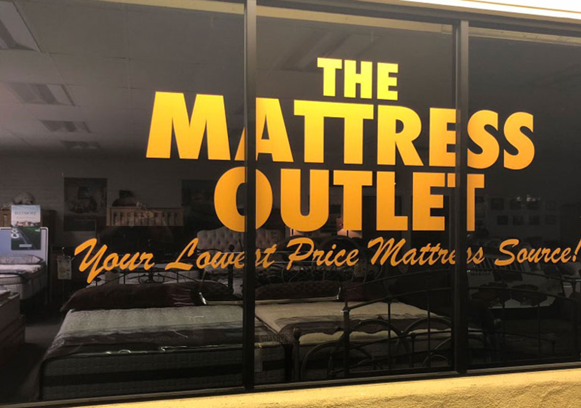 The mattress outlet window graphic