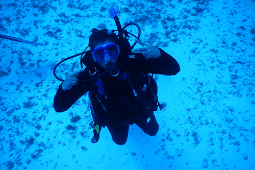 Dr. Pandit's daughter on a recent scuba trip.