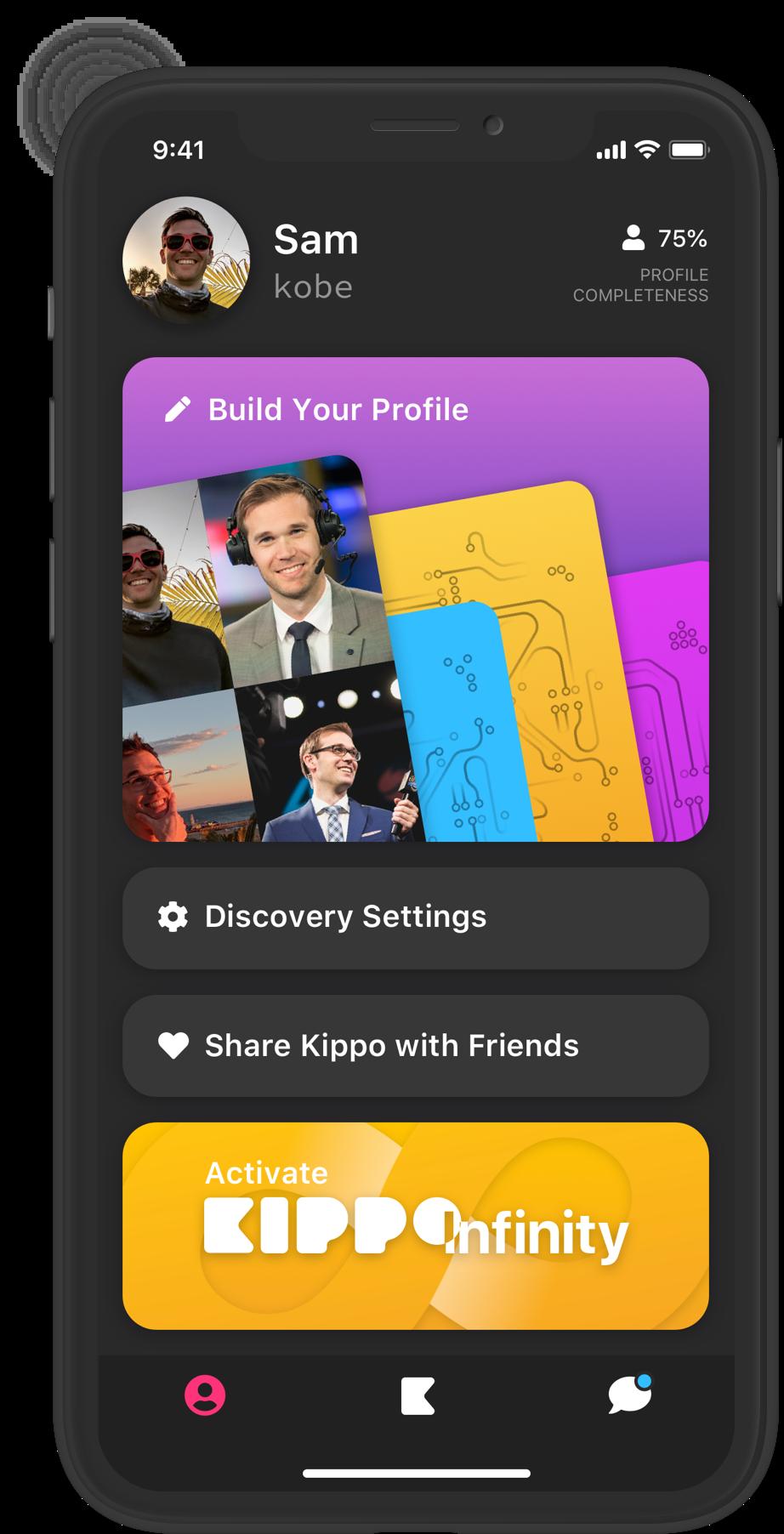 Profile menu screenshot