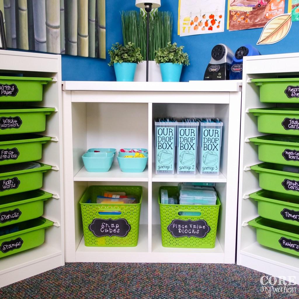 Homework Drop Boxes Stored In Corner of Classroom
