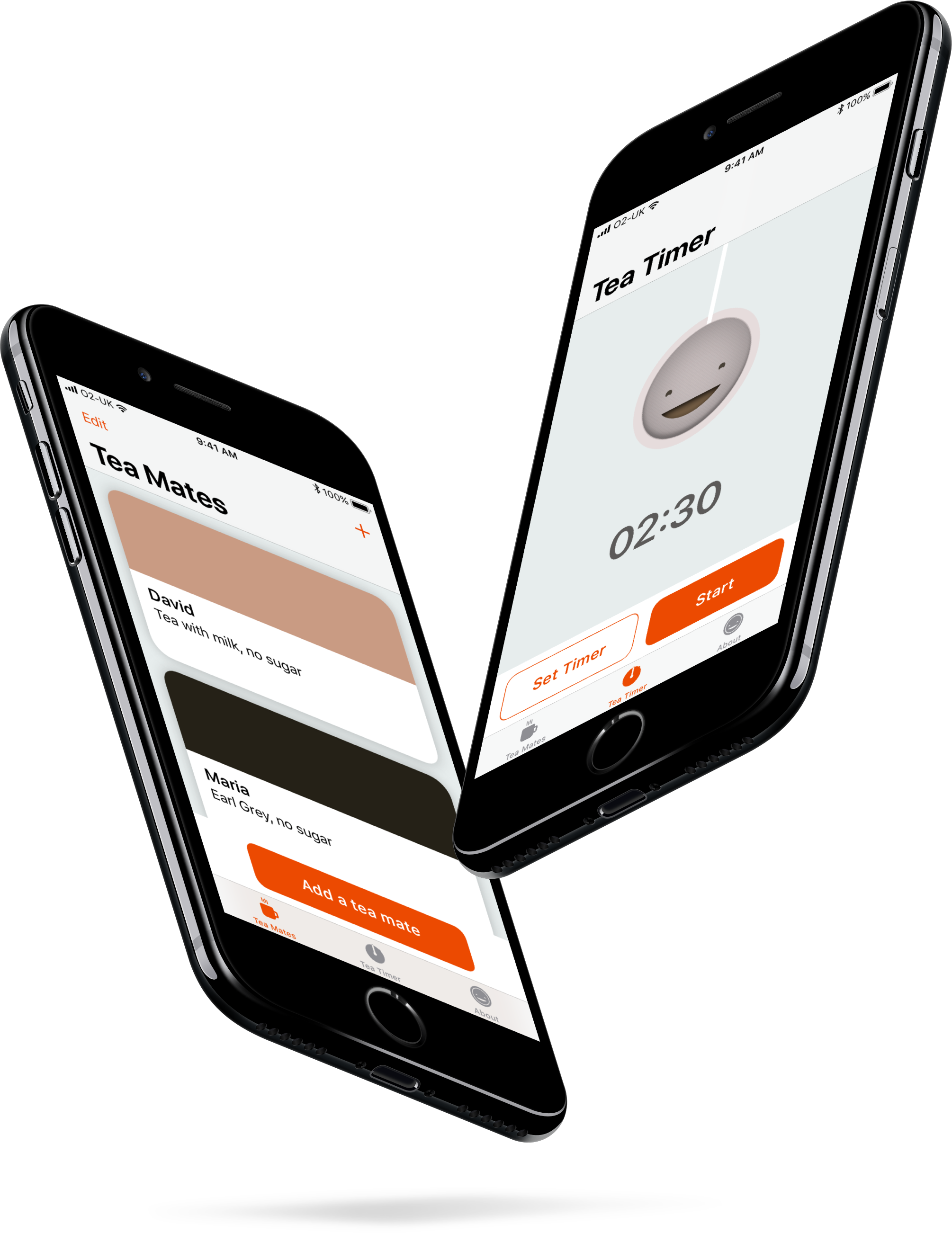 2 iPhones showing BrewTeaFul app