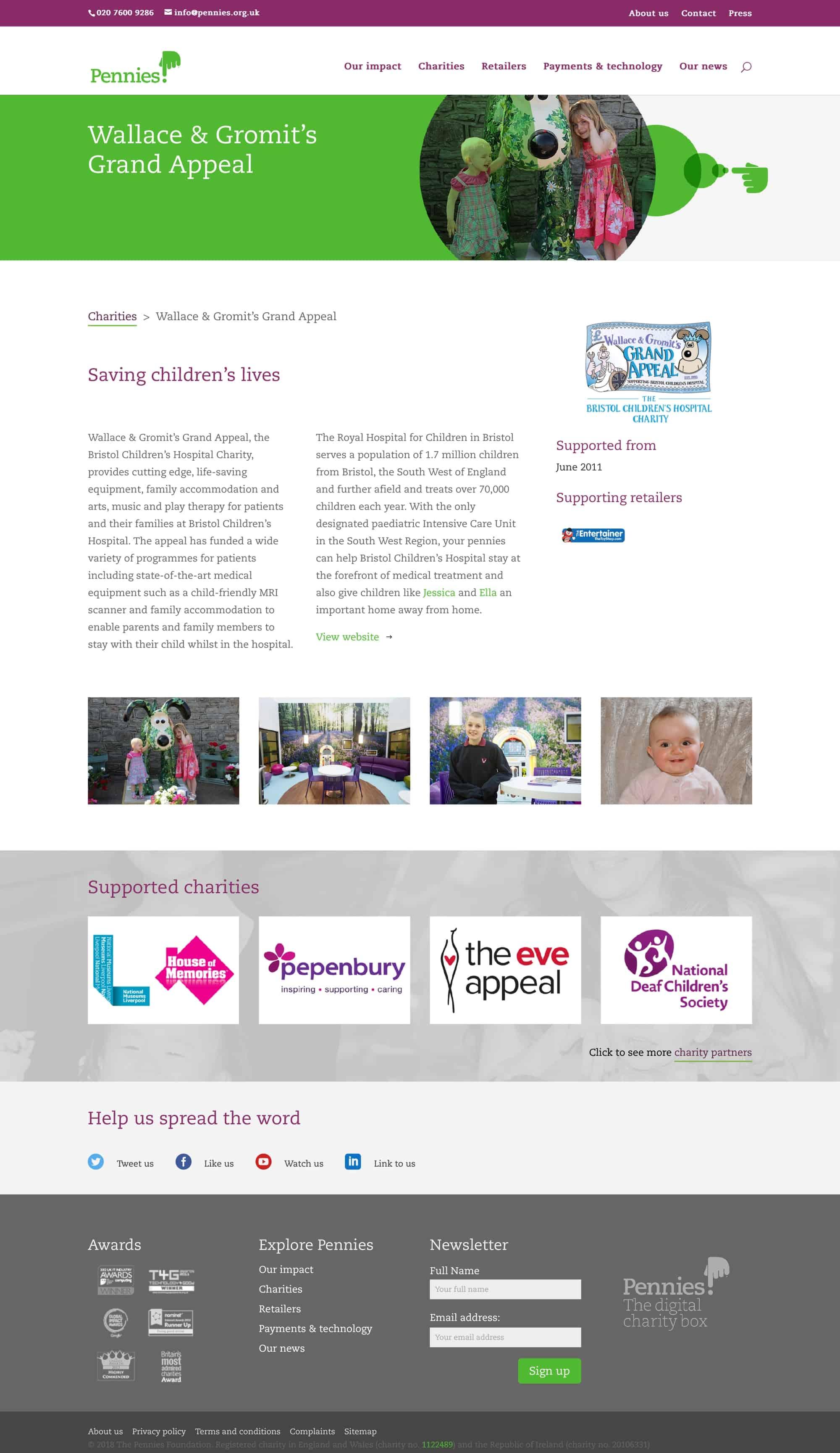 Pennies charity page screenshot