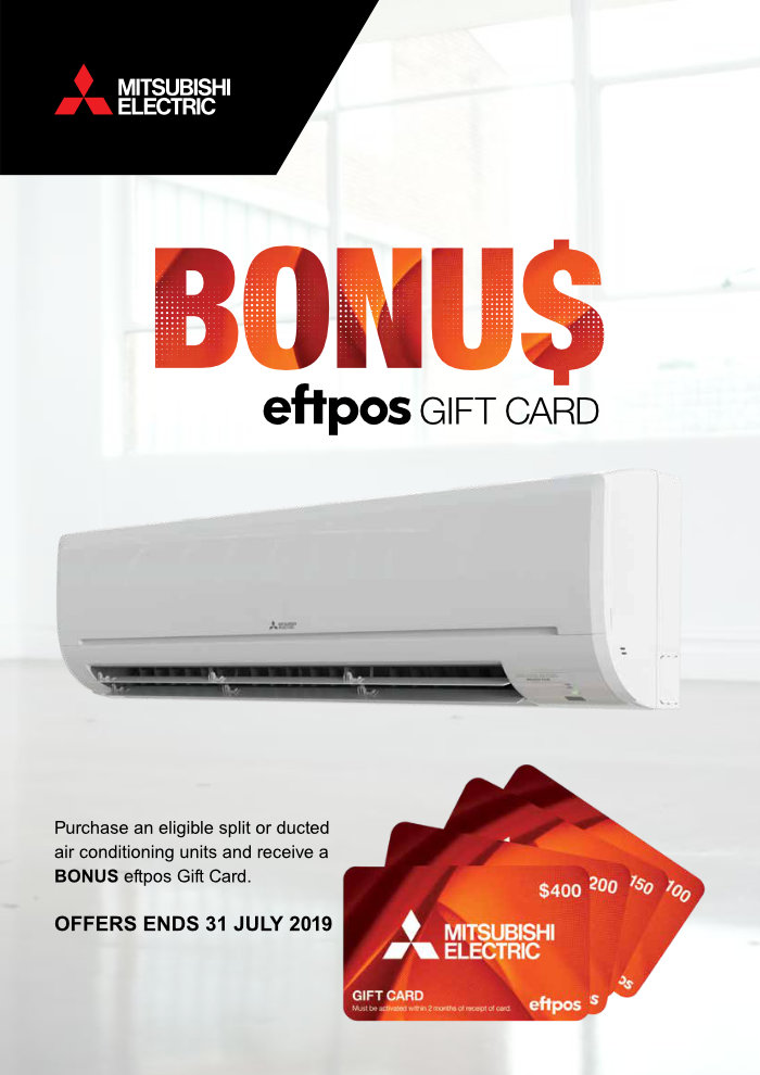 Mitsubishi Electric Bonus EFTPOS Cash Card Deal