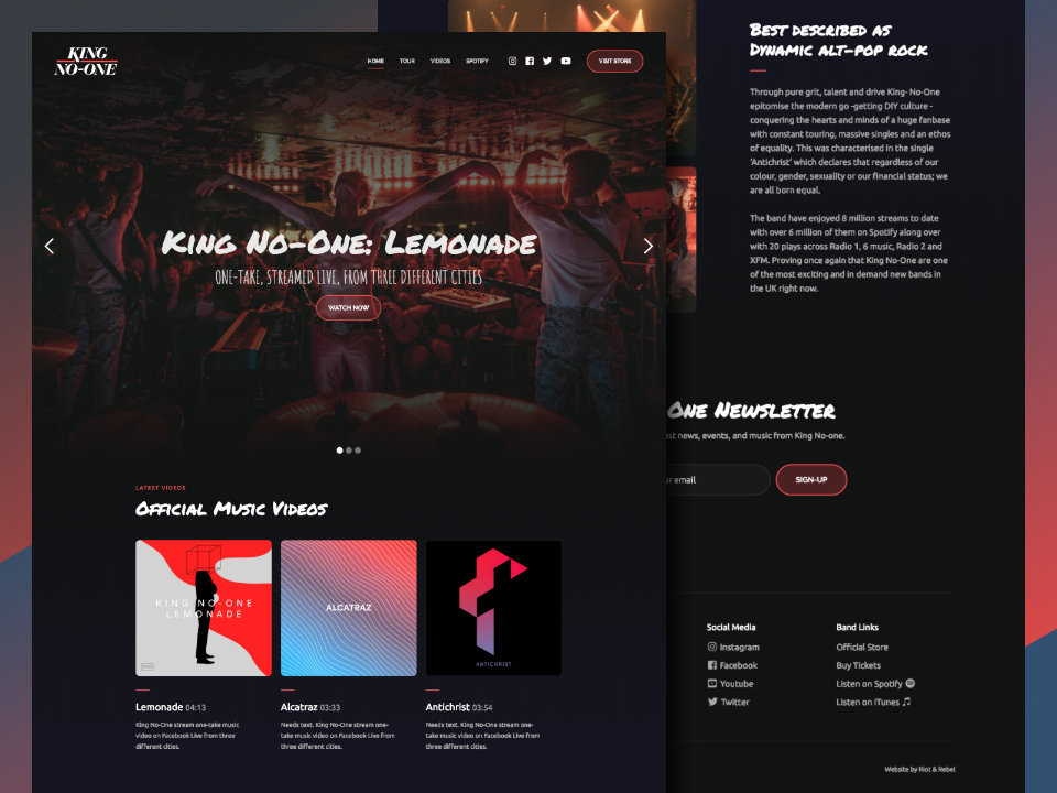Screenshot of King No-One Website
