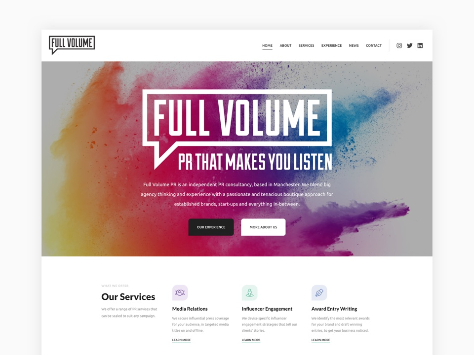 Full Volume PR Website