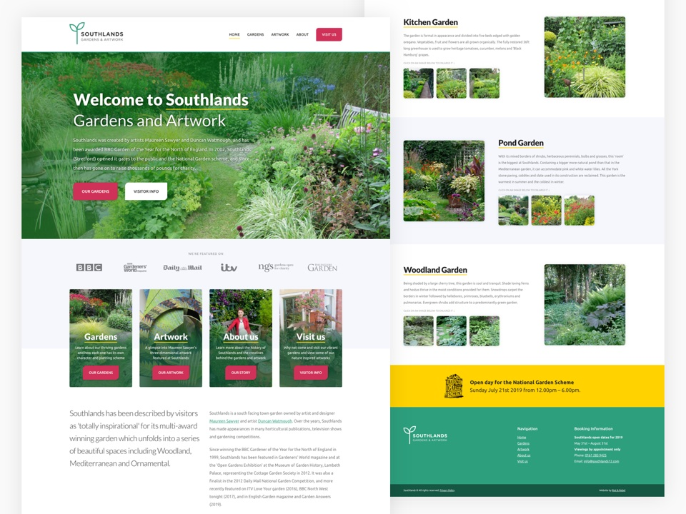 Client Website, Southlands Gardens