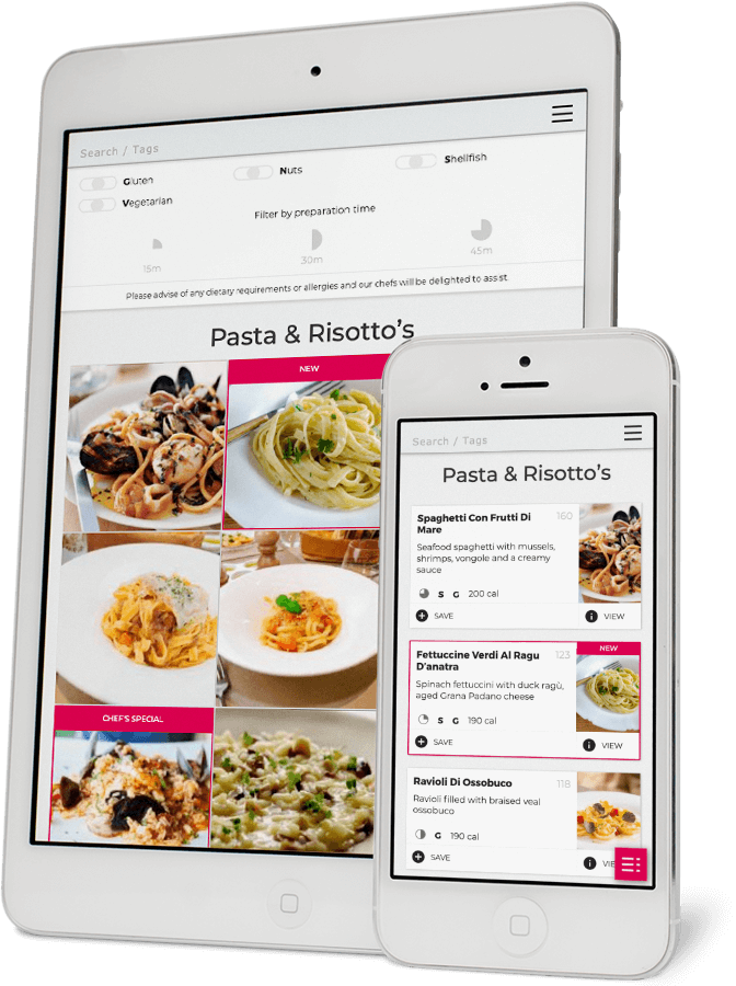 Redro tablet and mobile restaurant menu