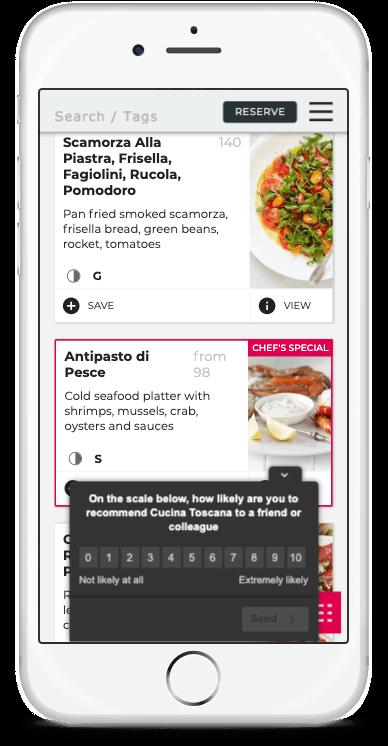 Restaurant NPS on Digital Menu