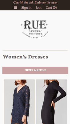 mobile ecommerce design example