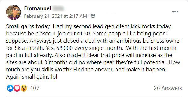 $8k/mo lead gen deal!