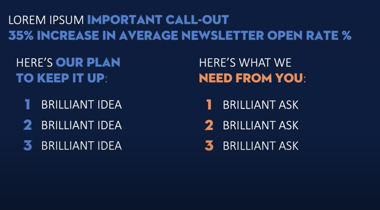 """A similar approach is applied to email analytics open rates, with three points on """"Our plan to keep it up"""" and three points for """"Here's what we need from you"""""""