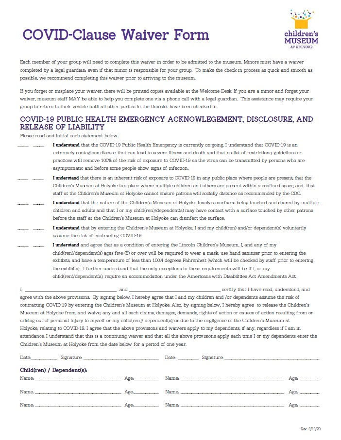 Picture of the English Covid Waiver form