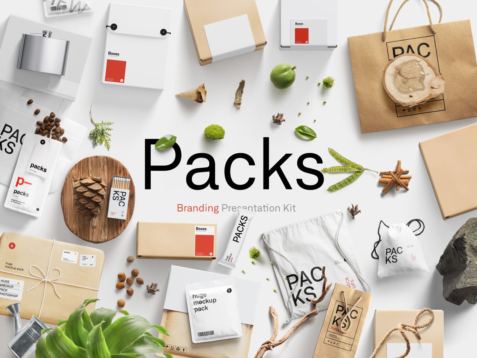 Packs Mockup Bundle. All types of packages mockups and a lot of environment items