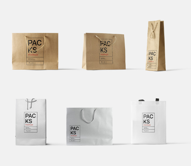 Bags mockups. In kraft, paper, glossy materials