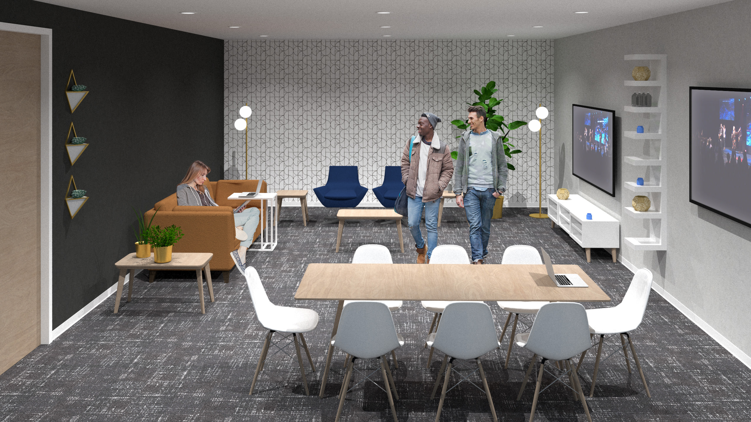 Rendering of a meeting room with people