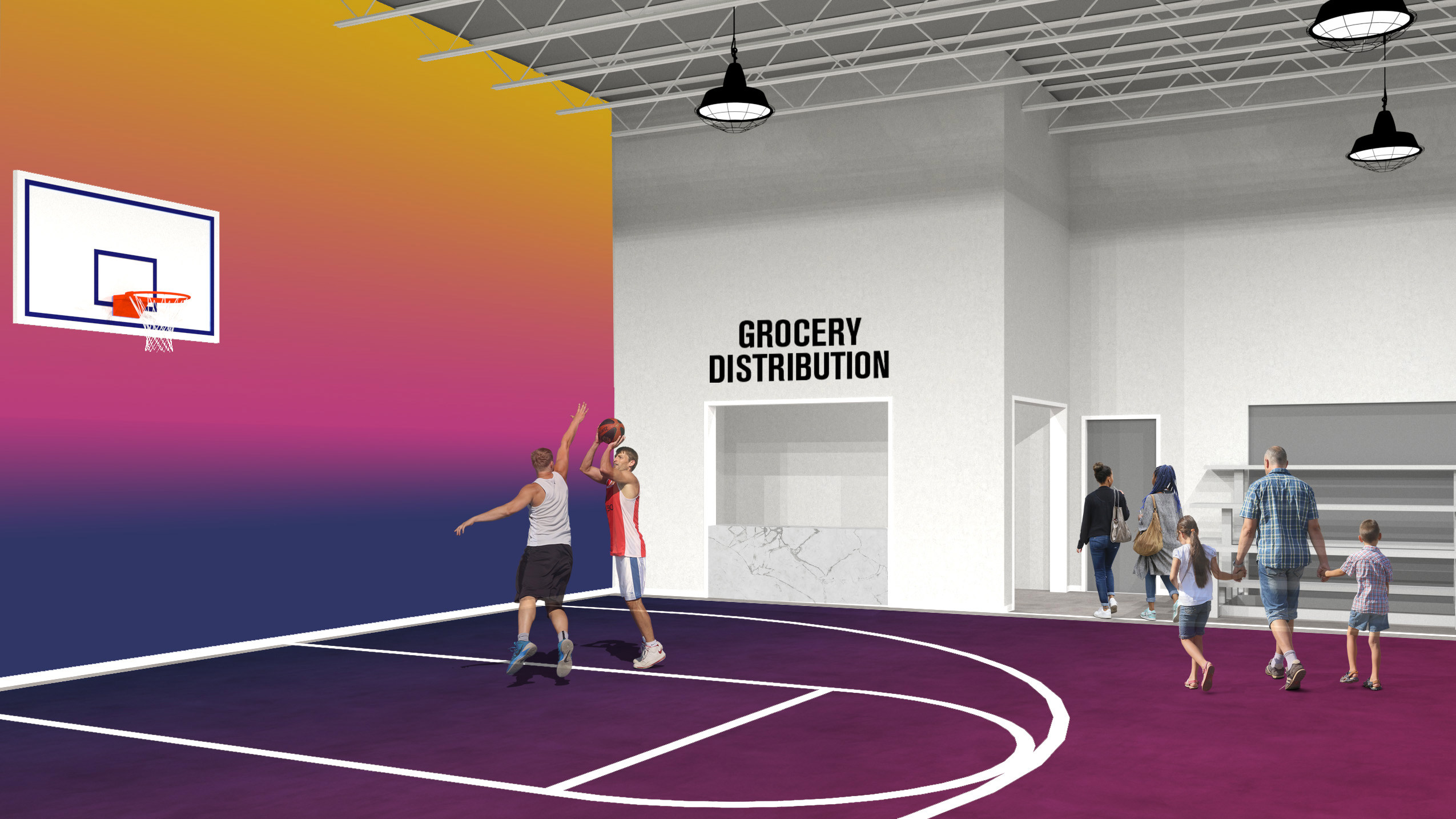 rendering of a basketball court with people