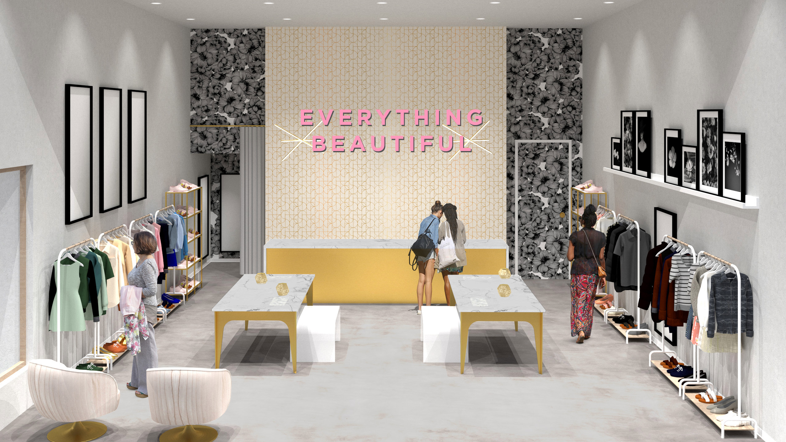 Rendering of the beauty bar with people