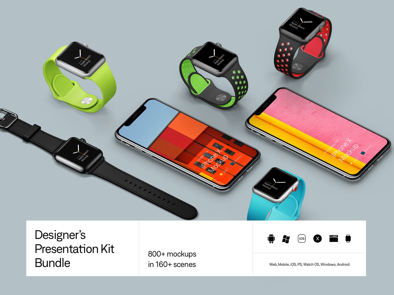 Biggest mockup pack. 980+ mockups. All types of devices. For web, mobile, iOS, Watch OS, Windows, Android