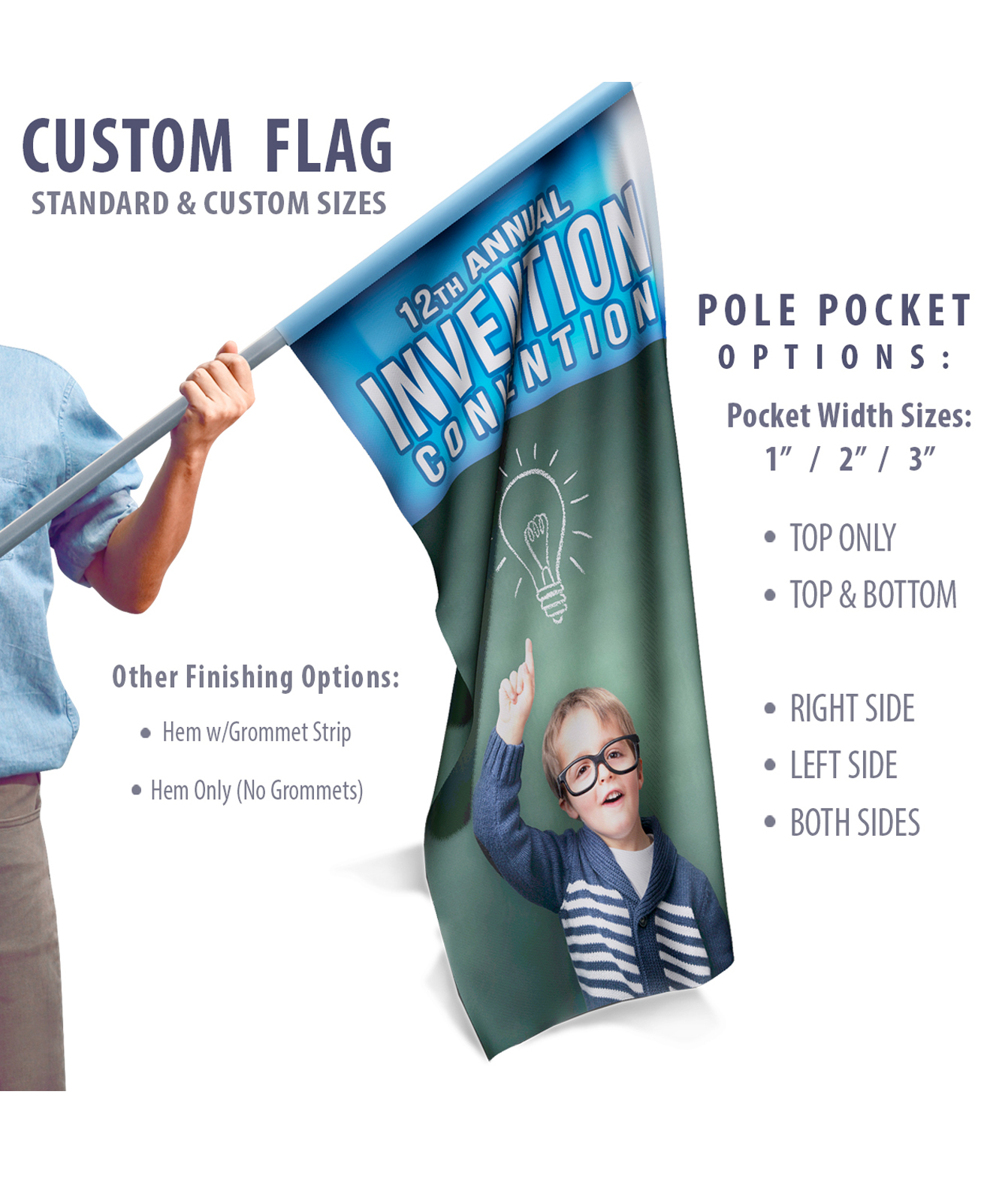 Feather Angled Full-color Flag w/Pole & Ground Stake