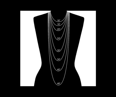 Various Necklace lengths on a black mannequin