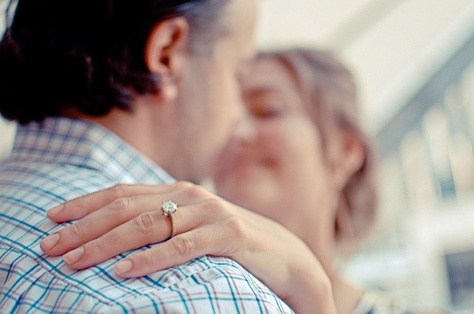 Couple, Engagement, Ring, Diamond, Hugging, Happy, Love