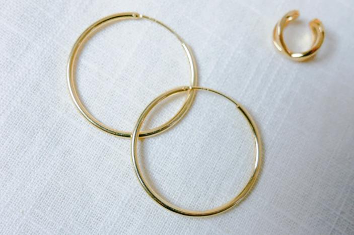 pair of large gold hoop earrings